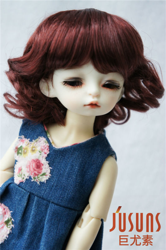 1/6 Synthetic mohair BJD doll wigs, Short curly doll wig 6-7 inch doll accessories JD164