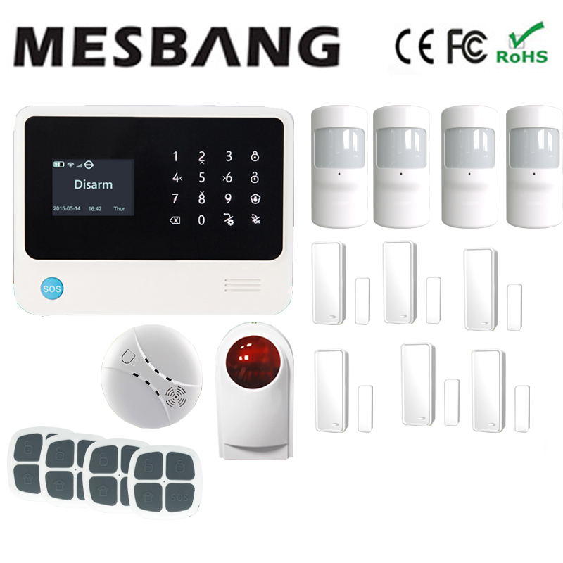 white wifi GSM GPRS wireless wifi home alarm system wireless outdoor siren with English French Russian Spanish,Dutch