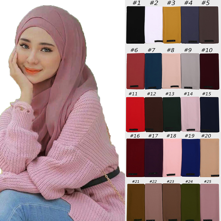 New women plain bubble chiffon   scarf   hijab   wrap   solid color shawls convenient with button headband muslim hijabs   scarves  /  scarf