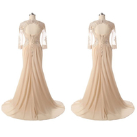 Champagne Mother Of The Bride Dresses Evening Formal Party Gowns Long Sleeves