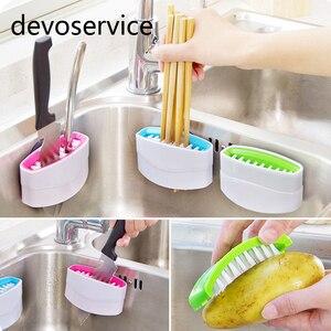 Multi-functional Sucker Cutlery Cleaner Knife Fork Spoon Cleaning Brush For Vegetable Fruit Kitchen Clean Helper Pinceau Cuisine