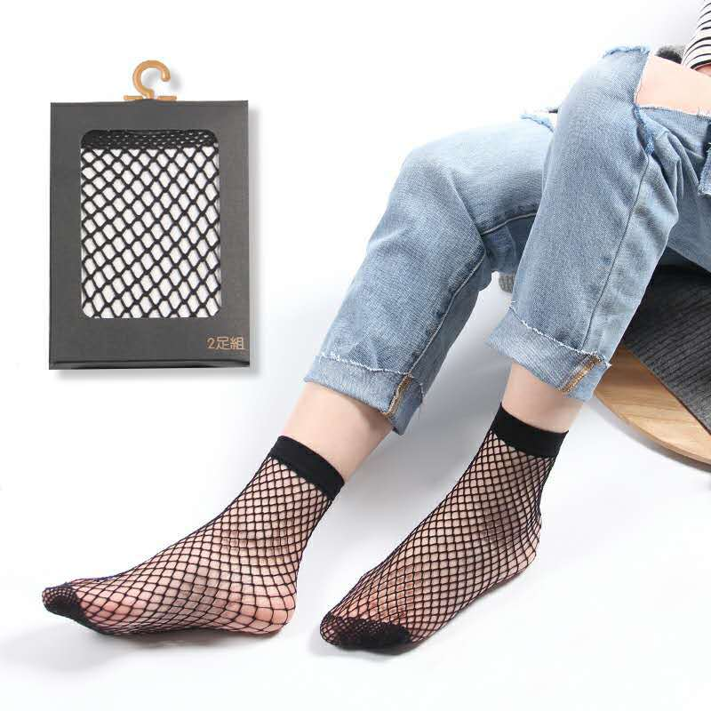 Sexy Black Hollow Out Breathable Mesh Fishnet   Socks   3 Colors Punk Female Gothic Stretchable Short Women's   Socks