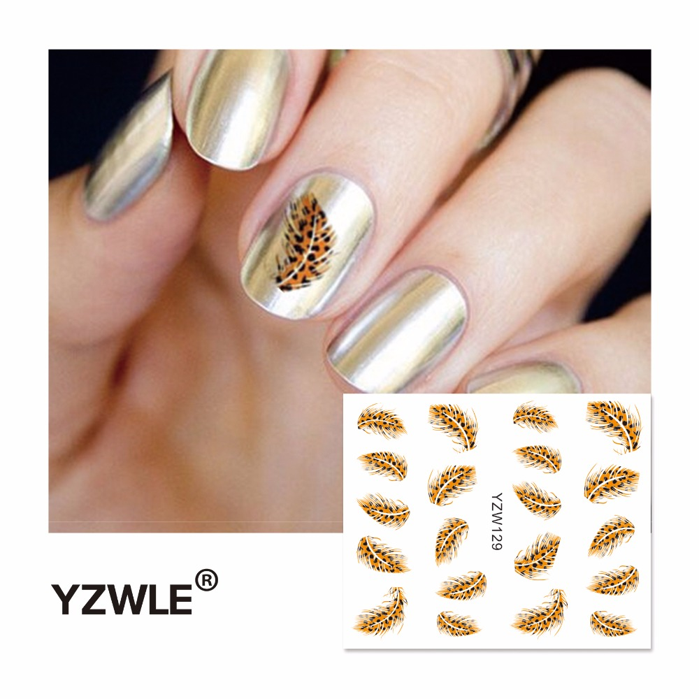 Yzwle 2018 Hot Sale Water Transfer Nails Art Sticker Feather