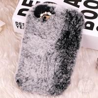 Luxury Real Rabbit Fur Case For Samsung Galaxy S4 Mini I9190 S5 Mini G800 Rhinestone Case