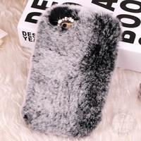 Caso Real de Piel de Conejo de lujo Para Samsung Galaxy S4 Mini i9190 S5 Mini G800 Caja Del Rhinestone para Samsung Galaxy S6 G9200 S6 borde