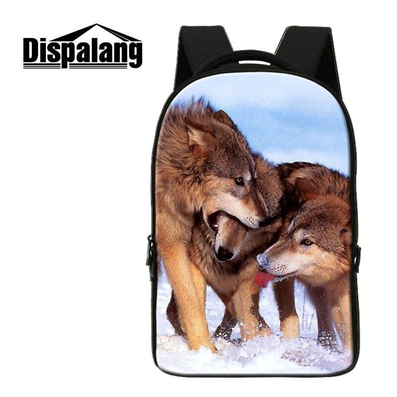 Dispalang décontracté ordinateurs portables d'entreprise sac à dos loup Animal imprimé étudiant sac à dos personnalisé sacs d'école ordinateur portable voyage sac à bandoulière