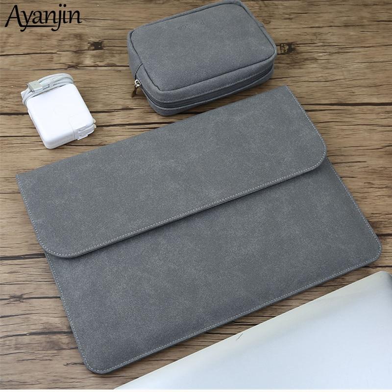 2019 New Matte Magnetic Buckle PU Laptop Sleeve Bag For Xiaomi Macbook Pro 13 Case Air 11 12 Retina 15 Touch Bar Women Men Cover