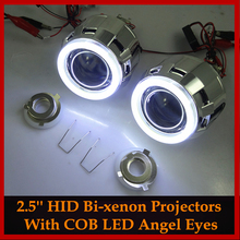 Стайлинга автомобилей Автомобилей LHD/RHD Модернизации MH1 2.5 дюймов COB СВЕТОДИОДНЫЙ Angel Eyes Halo HID Би-ксенон Объектив Проектора Фар Комплект H4 H7