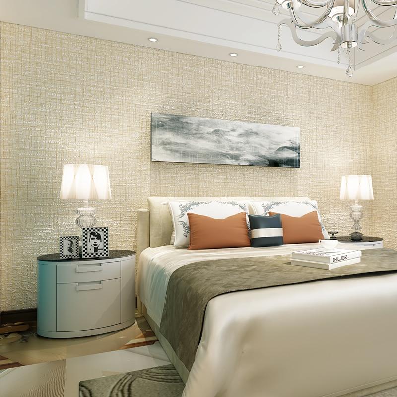 Modern Solid Color Flocking Textured Wallpaper Light Grey Beige