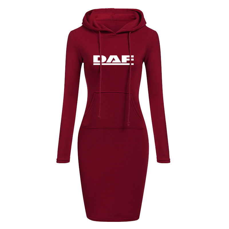 Fashion Women Hoodie Dress Long Sleeve Cotton Pullover Autumn and Winter Slim Fit