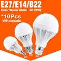 10 pçs/lote E27 E14 CONDUZIU a Lâmpada Lâmpada Led de Alta-efeito de Luz 3/5/7/9/12/15 W de Poupança de Energia Cool/Warm White Led Spotlight Lâmpada Para Casa