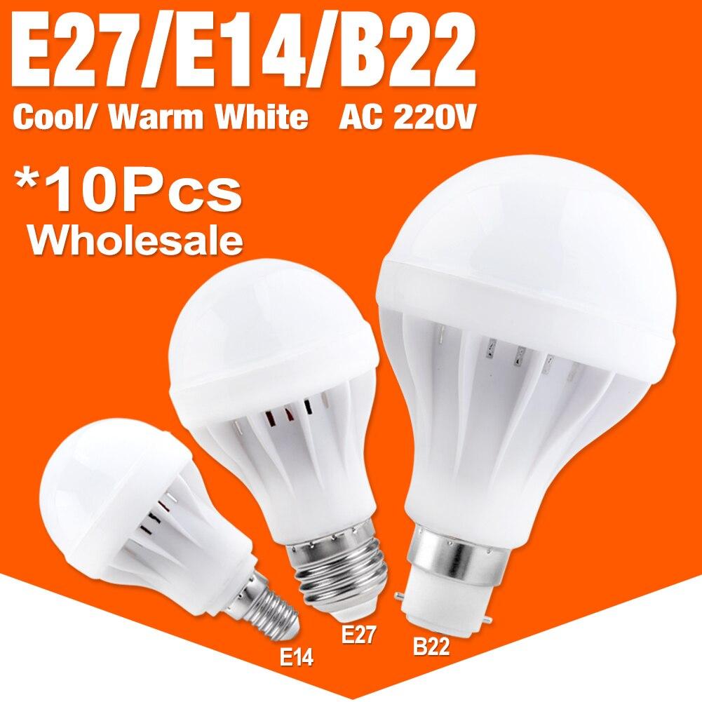 10pcs/lot E27 E14 LED Bulb Led Lamp High Effect Light 3 5 7 9 12 15W Energy Saving Cool Warm White Led Spotlight Lamp For Home 15 w e27 cool white 15leds 1w highpower led energy saving cfl bulb lamp spotlight 220v 240v
