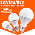 10pcs/lot E27 E14 LED Bulb Led Lamp High-effect Light 3/5/7/9/12/15W Energy Saving Cool/Warm White Led Spotlight Lamp For Home