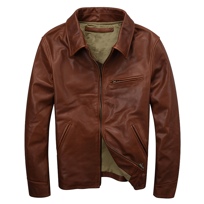 2018 Brown Men Smart Casual Genuine Leather Jacket Plus Size XXXL Real Thick Cowhide Winter Russian Leather Coat FREE SHIPPING