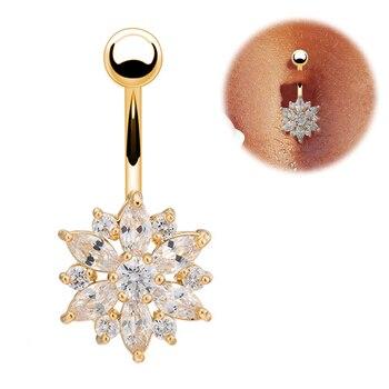 Pendientes de lujo en el ombligo 316L de acero inoxidable verde flor barras de cristal para ombligo oro ombligo anillo Piercing para el ombligo joyería