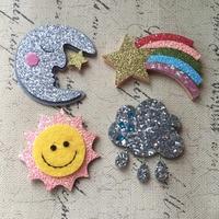 Free Shipping 24PCs Lot Glitter Kawaii Hair Jewelry DIY Patch Bling Moon Rainbow Star Sun Cloud