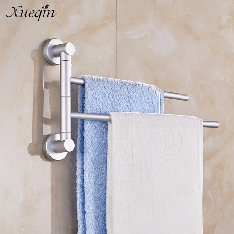 Xueqin Space Aluminum Bathroom Towel Holder 2 Swivel Bars Bath Rack Rail Hanger Bathroom Shelf Rotate Towel Rack tower bath towel dual bar aluminum alloy hanger rack silver