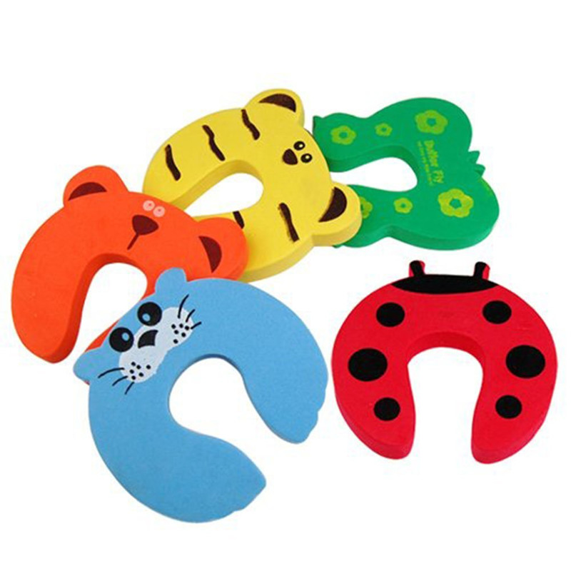 kids-baby-cartoon-exit-card-door-stoper-child-lock-safety-guard-finger-protect-animal-jammers-infant-safety-protector5pcs