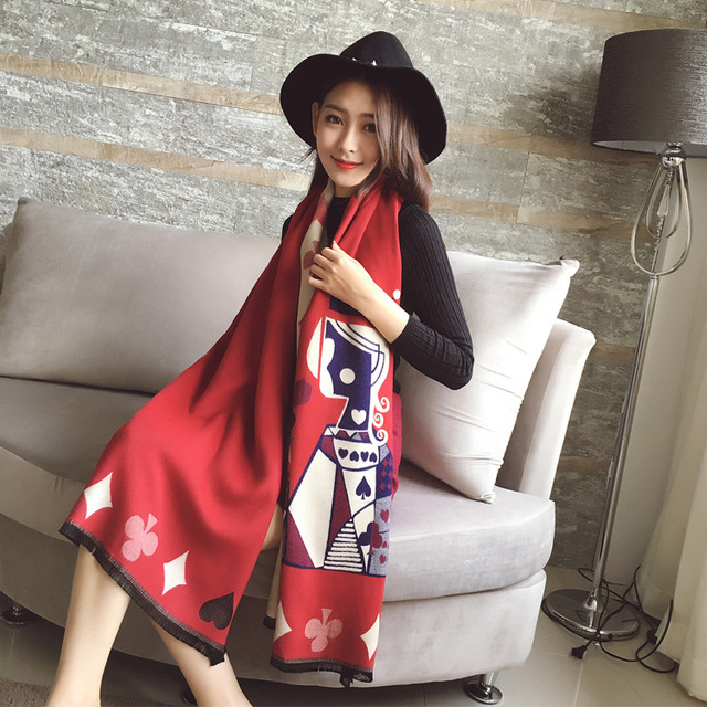 Size 190*65cm,2016 Autumn/Winter Ladies European style cashmere scarf Shawl Poker pattern shawls and scarves women skyour