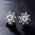 ANFANSI Elegant Hot Europe Style Earrings Silver Color Clear Flower AAA Cubic Zircon Engagement Earrings CER0209-B