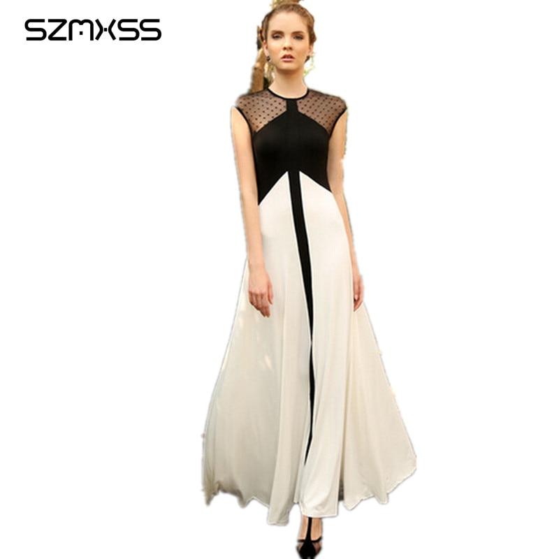 robe femme ete 2017 Summer Maxi Dress Black White Contrast Color Women Casual Elegant Mesh Chiffon Long Beach Dresses Vestidos