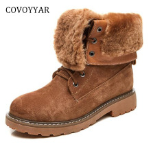 COVOYYAR 2019 Winter High Quality Women Boots Retro Flanging Ankle Snow Boots Platform Thick Heel Lace Up Women Shoes WBS1050