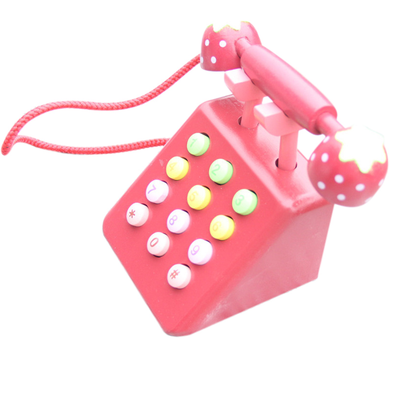 Girl Toys Phone Strawberry Simulation Pink Telephone Furniture Wooden Toys Child Educational Birthday Gift