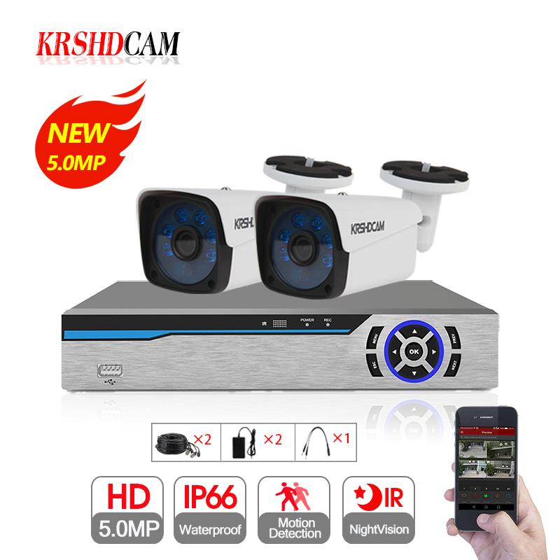 KRSHDCAM 4CH CCTV System 5 0MP AHD DVR 2PCS 5 0MP AHD Camera IR Waterproof font