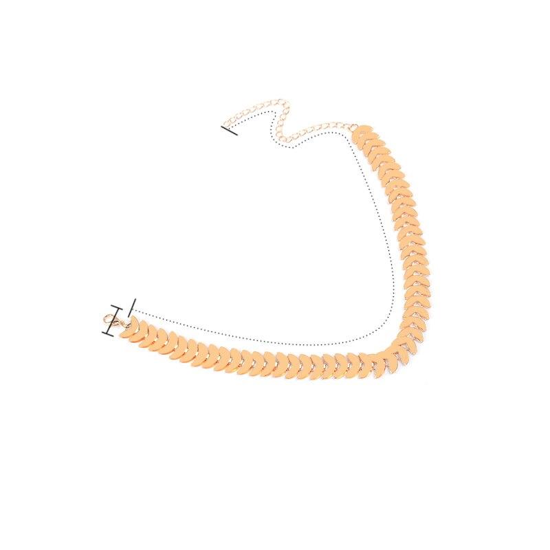 ᗗMetal elegante media luna hoja cadena gargantilla babero de color ...