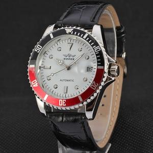 Image 3 - זוכה ייחודי Twotone עיצוב לוח קלאסי תאריך אוטומטי מכאני עצמי רוח שעון אופנה מזדמן עור שעון יד