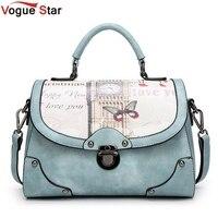 Vintage Printing Bag Women Pu Leather Handbag Brand Shoulder Bag Messenger Bags Bolsos European And American