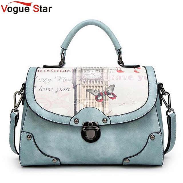 Vintage Printing Bag Women Pu Leather Handbag Brand Shoulder Messenger Bags Bolsos European And American