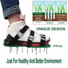 30 * 13cm Grass Spiked Gardening Walking Revitalizing Lawn Aerator Sandals Shoes 1 Pair (Green) цена 2017