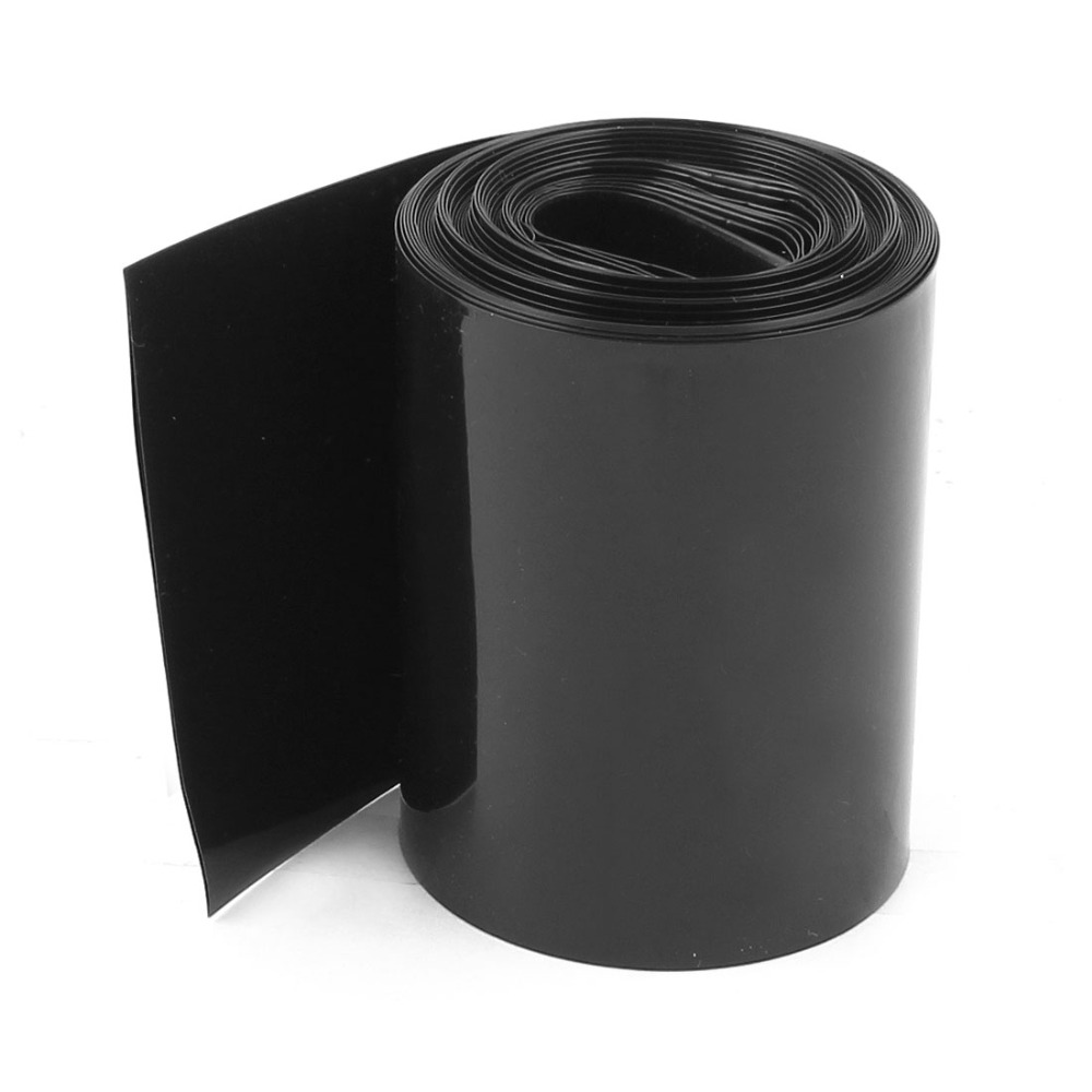 2Meters 64mm Width PVC Heat Shrink Wrap Tube Black for AA Battery Pack Accessories