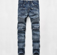 European American Style Famous Brand Men Jeans Luxury Men S Denim Trousers Slim Straight Patchwork Gentleman