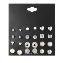 Fashion Mini Crystal Triangle Stud Earrings Set For Women Bijoux Simulated Pearl Heart office Lady Earring Jewelry 12 pairs/lot