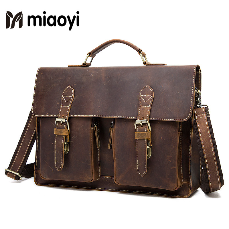 Men Briefcase Crazy Horse Leather Handbags Office Bags for Mens Messenger Bag Male Laptop Bag Men Business Travel Bag ipad bag handbags male vertical section business briefcase men bag korean trendy men crazy horse bag messenger bag 2016 new