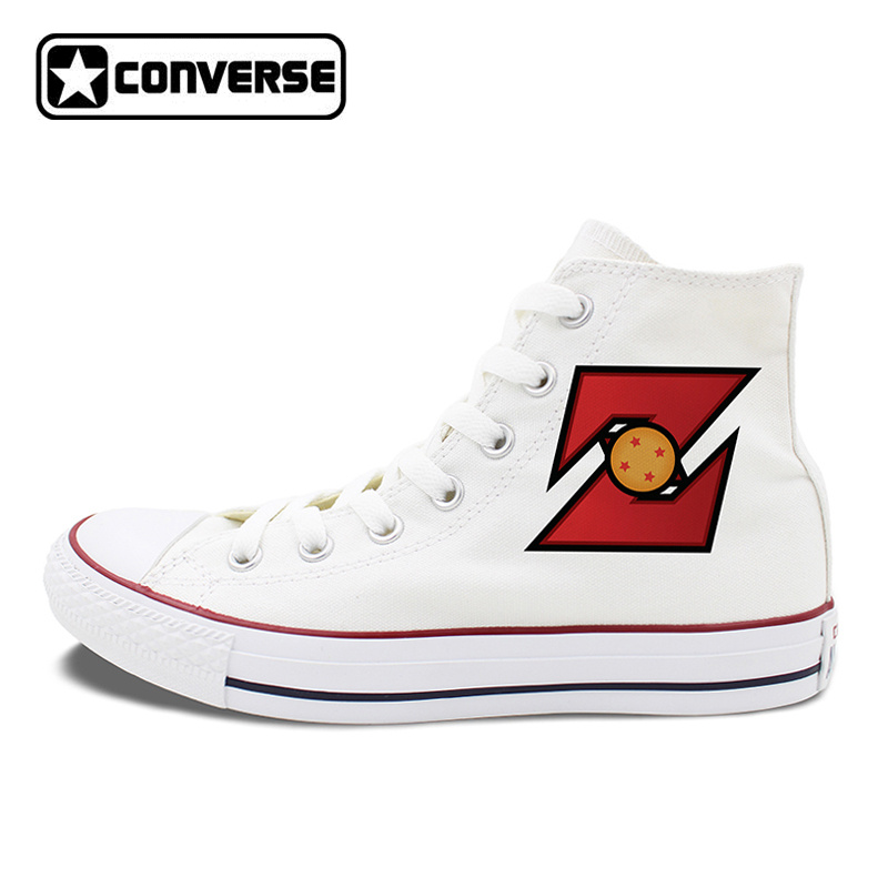 Design Converse Chuck Taylor Shoes Dragon Ball Z Anime Flat Skateboarding Shoes Unisex High Top White Black Canvas Sneakers