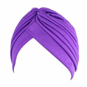 Image 2 - 20Pcs 24 Colors Muslim Turban Caps Women Elastic Stretchy Beanies Hats Bandanas Big Satin Bonnet Indian