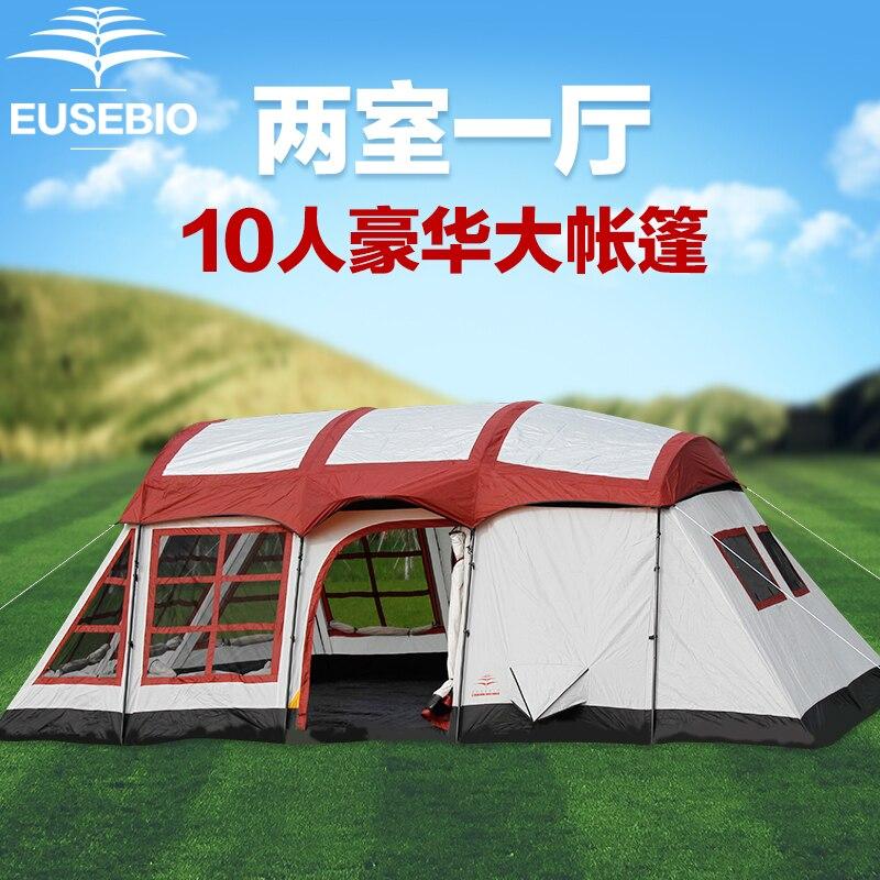Ultralarge deux pièces imperméable Double couche coupe-vent grande taille Camping tente grand Gazebo abri solaire