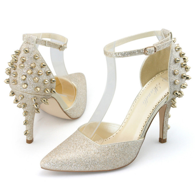 18ec6865384d SHOEZY party shoes woman glitter gold high heels studded spike rivets ankle  strap pumps ladies sexy stilettos pointed toe