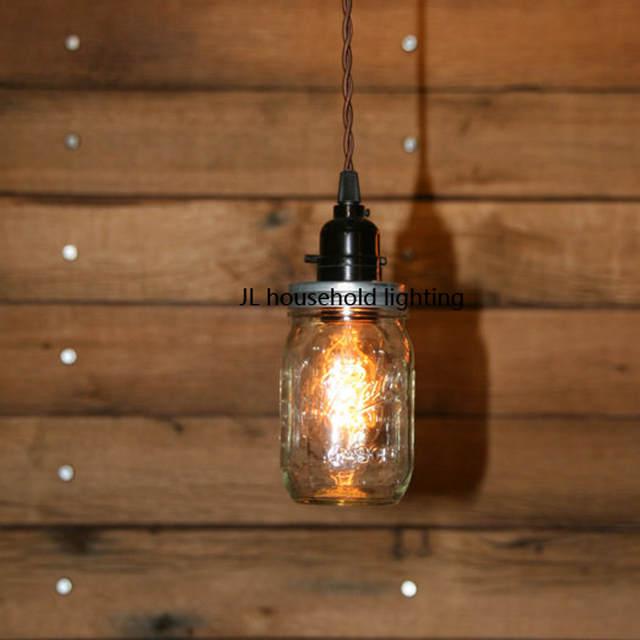 Placeholder Mason Jar Pendant Light Lamps Lighting Fixtures Bar Rustic Edison Bulb Ac90 260v Novelty