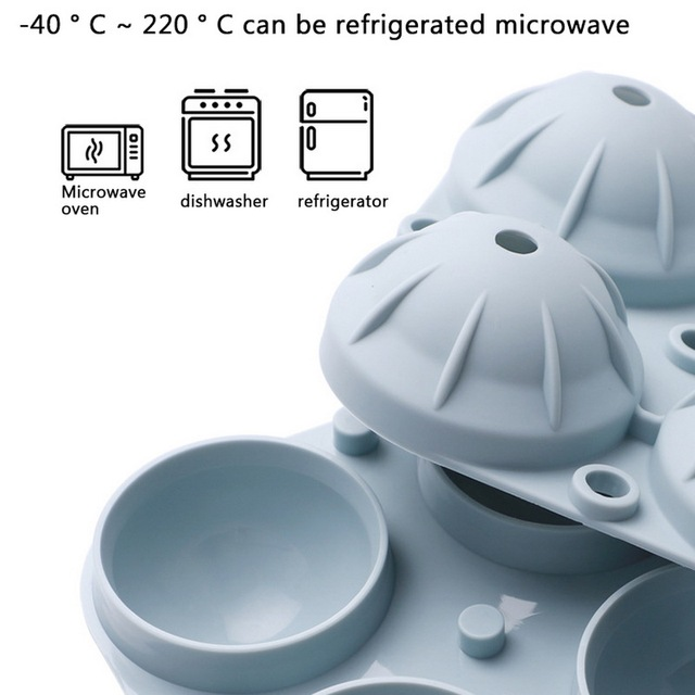 Silicone Round Ice Maker Tray with 4 Grids