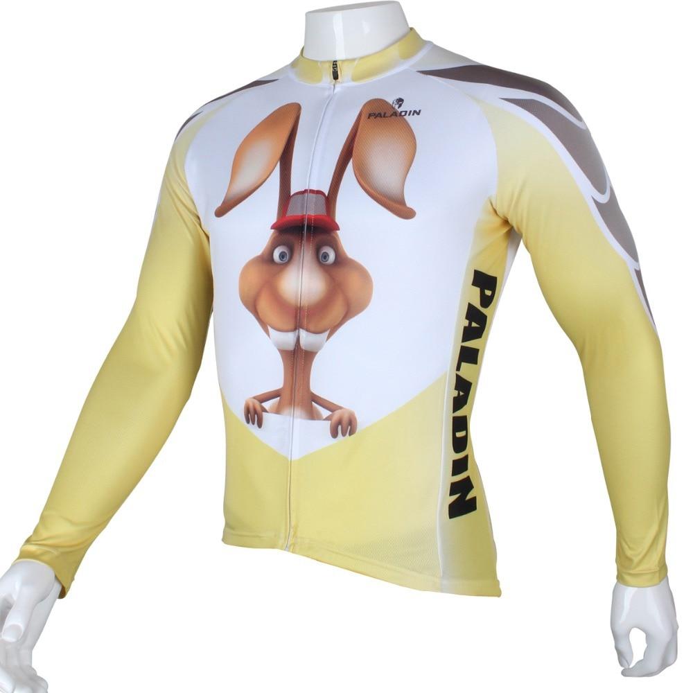 """팔라딘 """"3D 토끼""""남성 긴 소매 자전거 저지 자전거 셔츠 자전거 의류"""