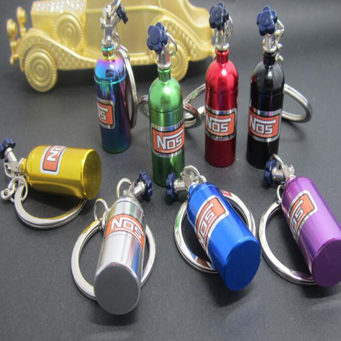 Nice Nitrous Oxide Bottle Extinguisher Keychain Mini Nitrous Oxide Bottle Keyring Stash Pill Box Storage Keyfob Random Color
