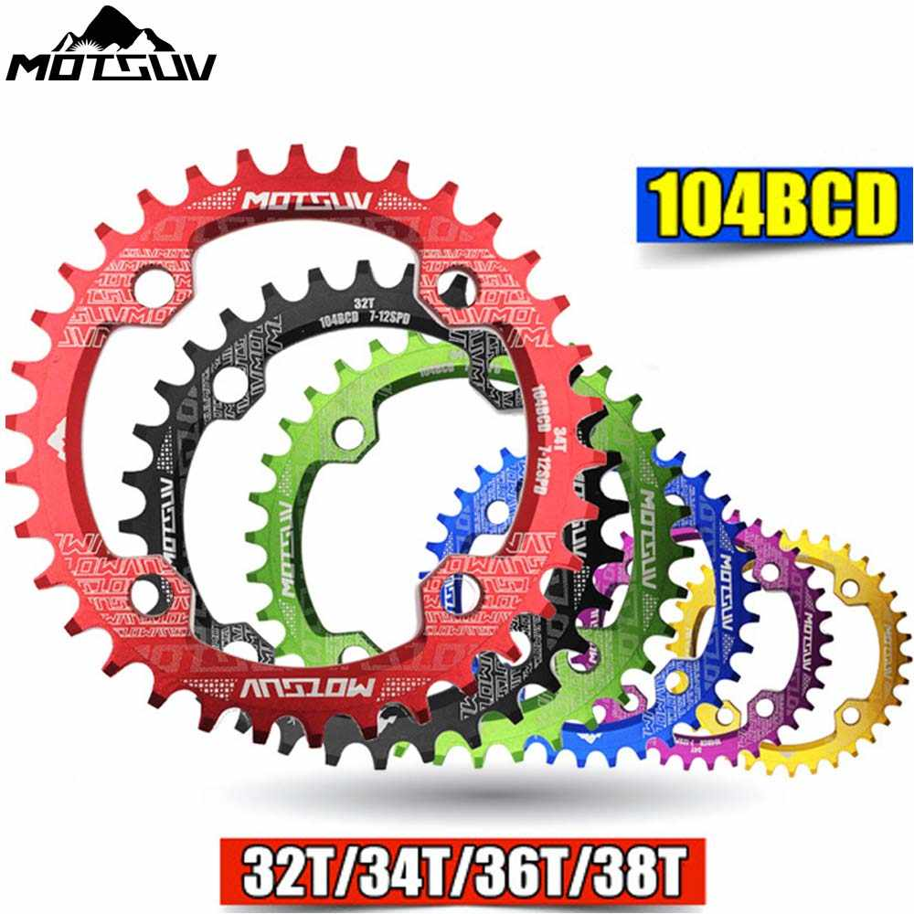 MTB จักรยานรอบรูปร่างแคบกว้าง Chainwheel 32 T/34 T/36 T/38 T 104BCD Chainring จักรยานวงกลม Crankset เดี่ยวแผ่นชิ้นส่วนจักรยาน