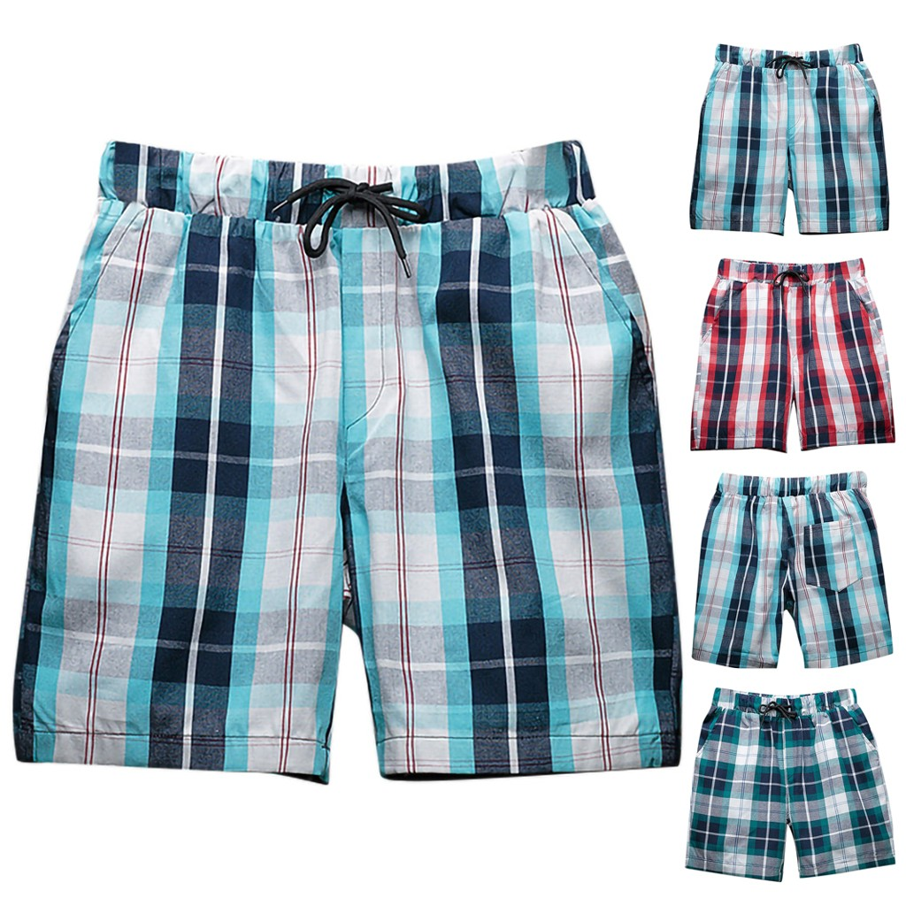CHAMSGEND Shorts Tartan Beach-Pants Swimming-Trunks Surf Long Vacation Seaside Loose