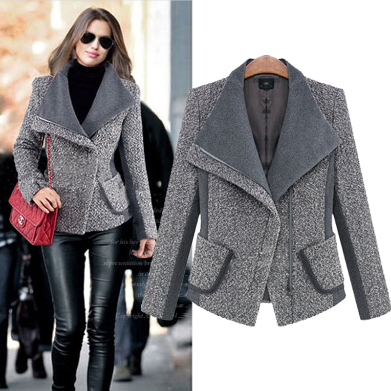 2016 New Ladies Grey Green Long Sleeve Fashion Jackets