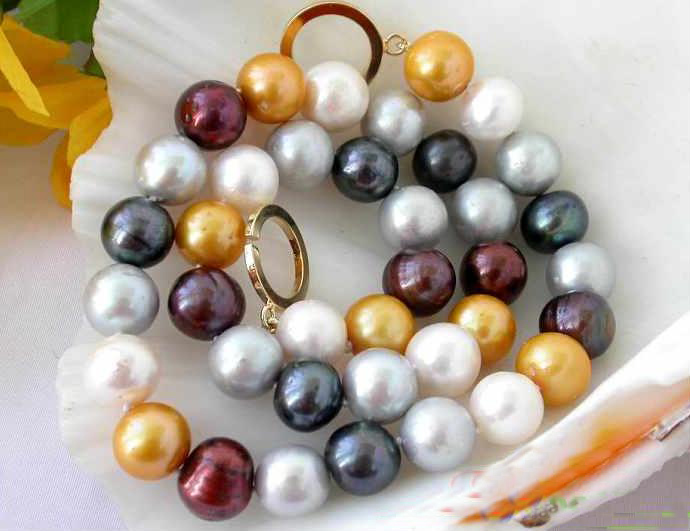 Freshwater Pearl Necklace,AAA 10-12mm Huge Multicolor Round Cultured Pearl Jewellery,New Free Shipping. 50 12mm round black freshwater cultured pearl necklace