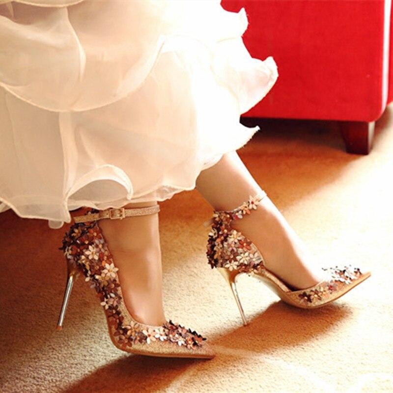 Zapatos brillantes para mujer, zapatos de novia, club de noche, calzado especial, zapatos con puntera para fiesta, zapatos con lentejuelas y decoración de flores